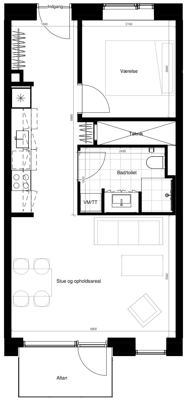 Plantegning - Borggade 6K, 2. 3 , 8000 Aarhus C
