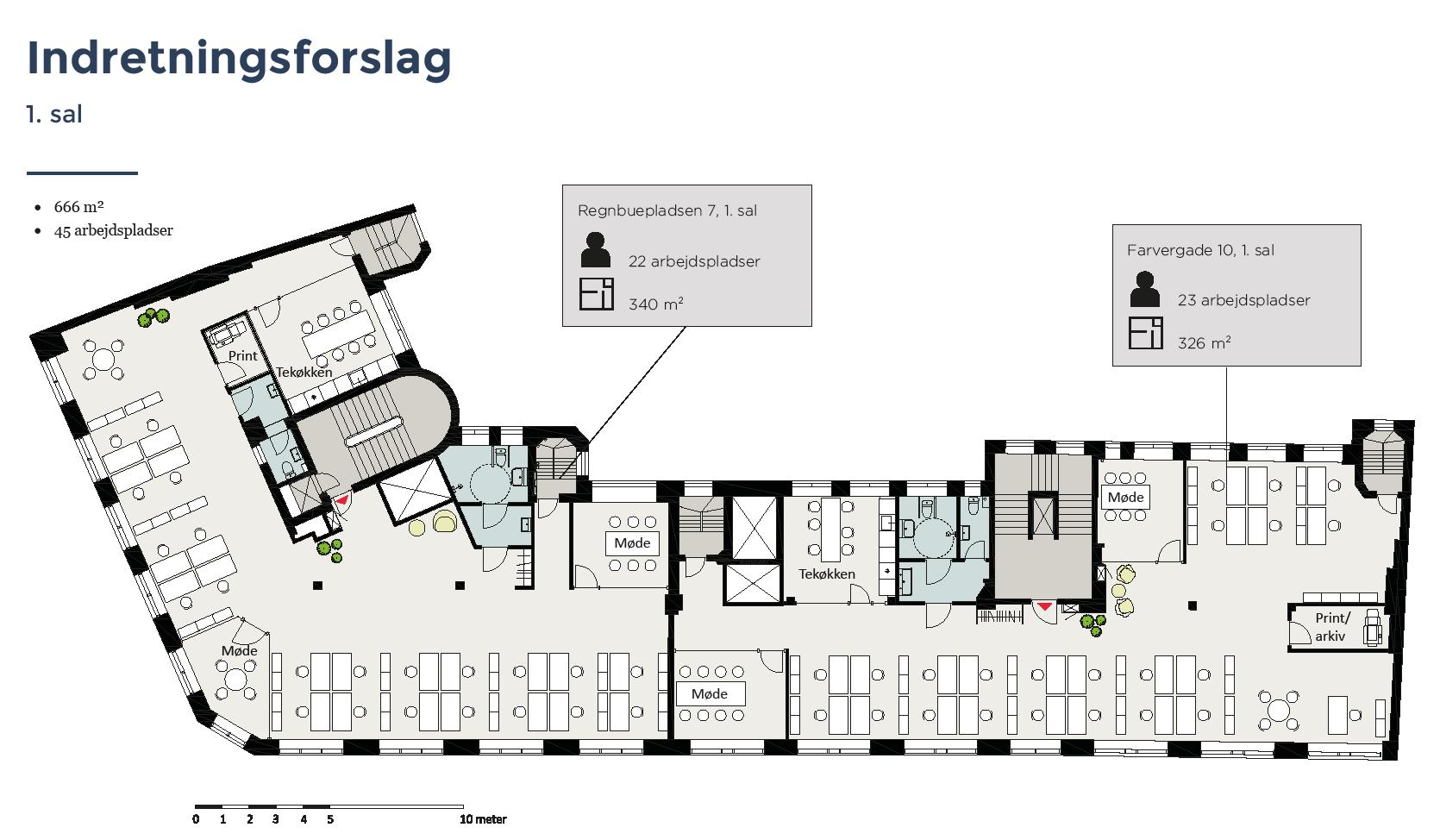 Plantegning - 1.sal - Farvergade 10 / Regnbuepladsen 7, 1463 København K