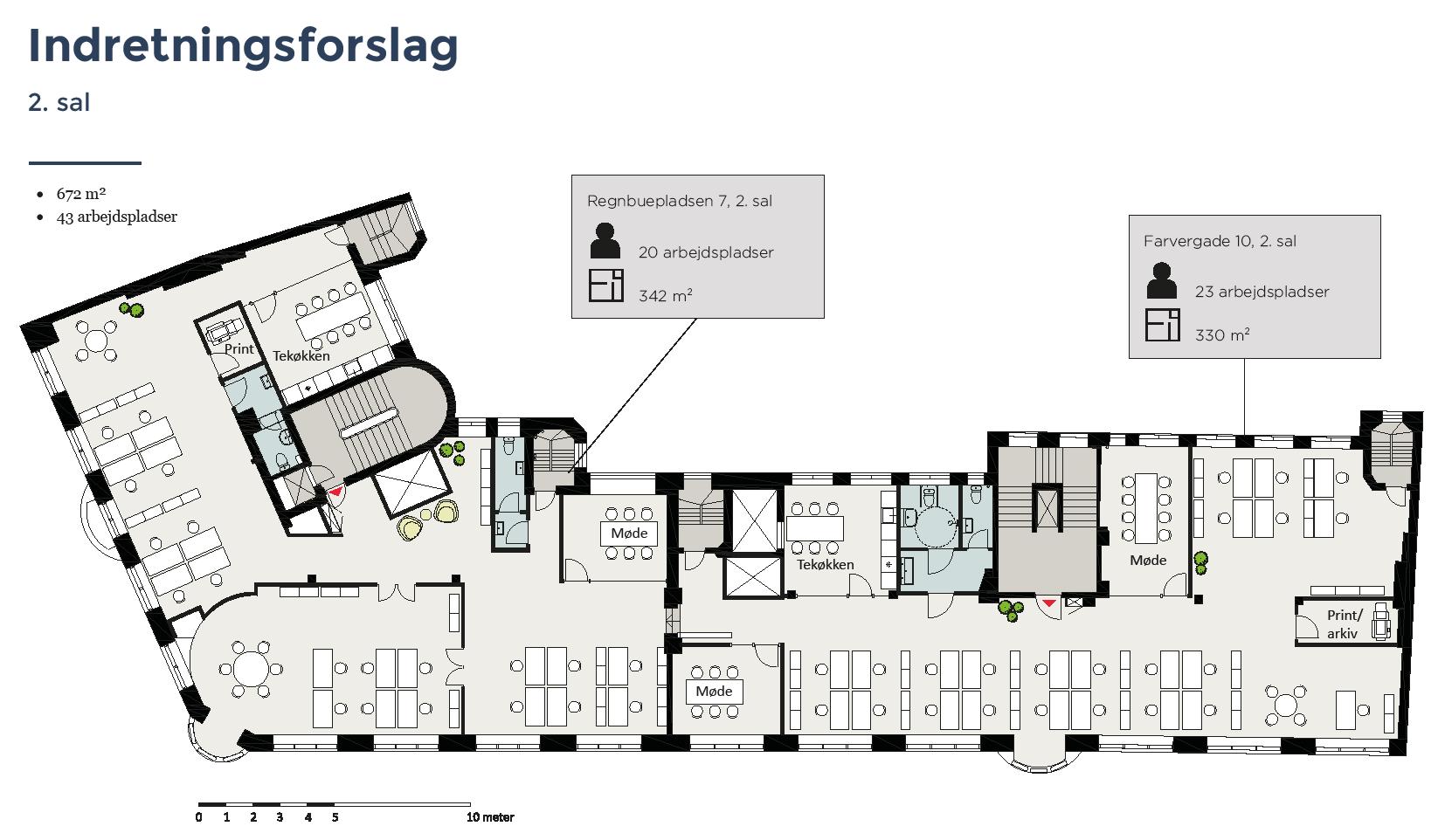 Plantegning - 2.sal - Farvergade 10 / Regnbuepladsen 7, 1463 København K
