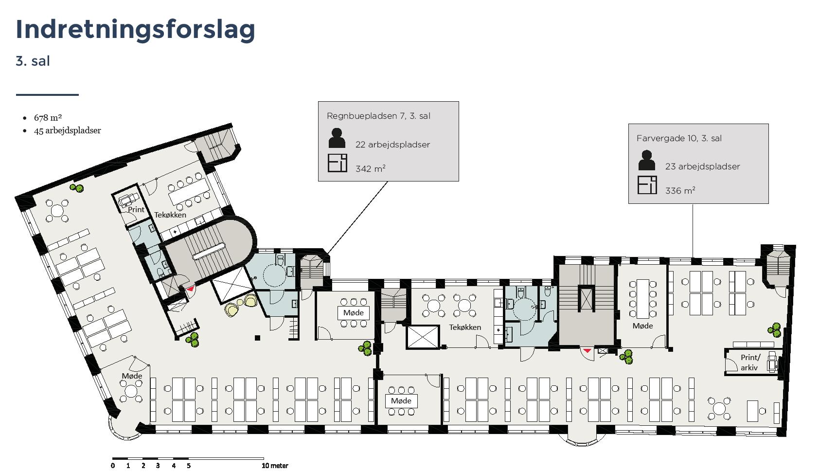 Plantegning - 3.sal - Farvergade 10 / Regnbuepladsen 7, 1463 København K