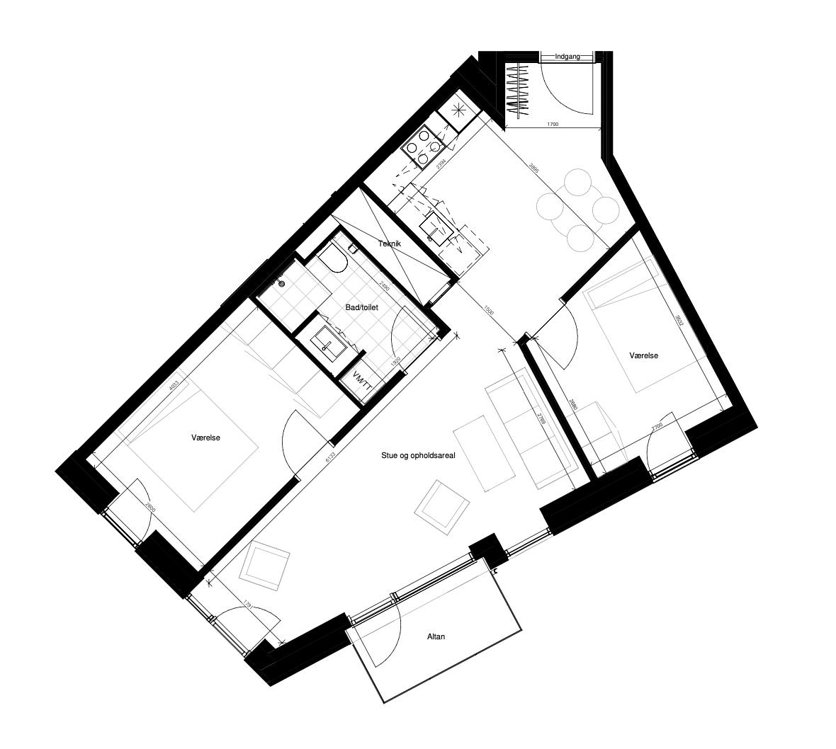 Plantegning - Borggade 6E, 1.th, 8000 Aarhus C